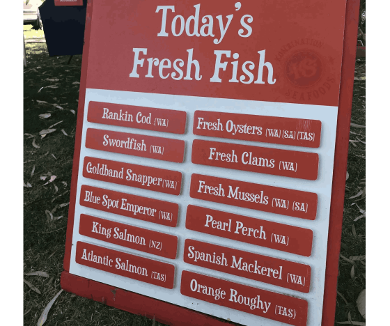 The Kombination Seafoods Menu.